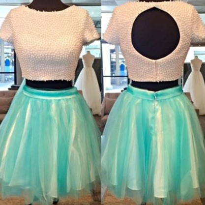 Mint tulle Two Piece Homecoming Dre..