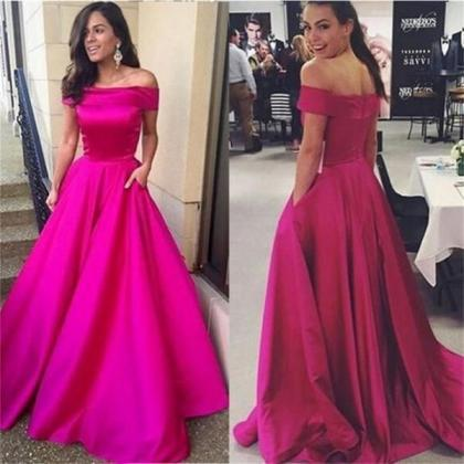 A Line Off Shoulder Simple Prom Dre..