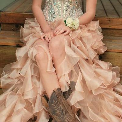 Custom Made Pink High Low Prom Dresses, Homecoming Dress, Evening Dresses, Party Dresses, Formal Dresses