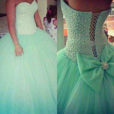 Custom Made Green Sweetheart Neckline Prom Dresses, Green Ball Gown Dresses, Homecoming Dress, Graduation Dress, Party Dress