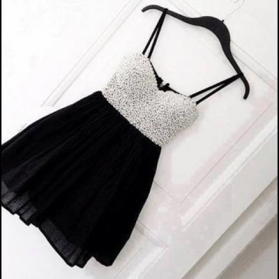 Custom Made Cute Black Mini Homecoming Dress with White Beadings, Homecoming Dress 2015, Homecoming Dresses, Short Prom Dress