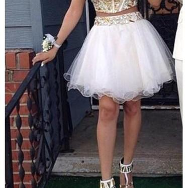 Custom Made Sweetheart Strapless Mini Homecoming Dress, Short Prom Dress, Two-pieces Beading Homecoming Dresses,Sweetheart Graduation Dresses,Homecoming Dress,Short/Mini Tulle Prom Dress
