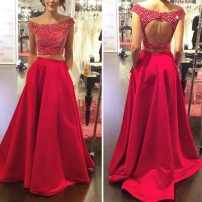 Two Pieces Prom Dresses, Backless Prom dresses, Prom dresses 2016, Two Pieces Prom Dress, Prom Dress 2016, Two Pieces Evening Dresses
