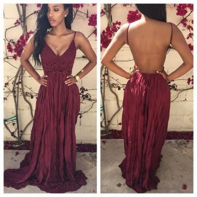 Floor Length Backless Prom Dresses, Backless Red Prom Dresses 2016, Backless Prom Formal Gown