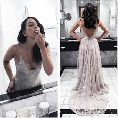 Lace Prom Dress, Backless Prom Dress, Strapless Lace Prom Dress, Strapless Lace Evening Dress