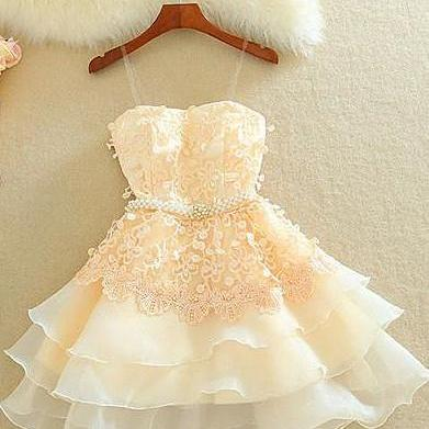Lovely Homecoming Dress,Sweetheart Mini Homecoming Dress,Lace Appliques Layered Homecoming Dresses