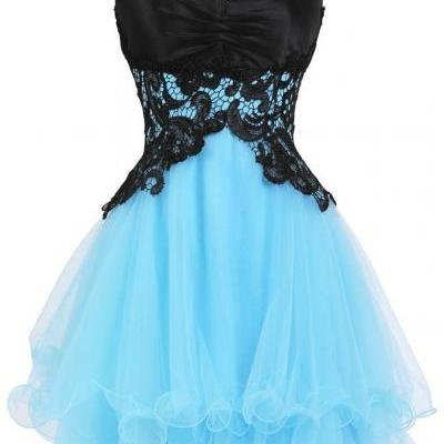 Mini A-Line Organza Homecoming Dress,Sweetheart Homecoming Dresses,Appliques Lace-Up Cocktail Dresses