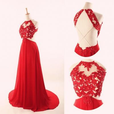 Halter Backless Lace Prom Dress,Red Prom Dresses