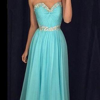 Sweetheart Beaded Crystals Prom Dress,Tiffany Blue Prom Dresses