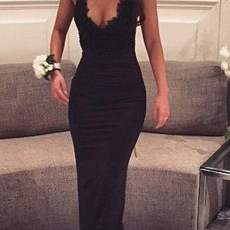 Black Sheath Prom Dress,Spaghetti Straps Prom Dresses