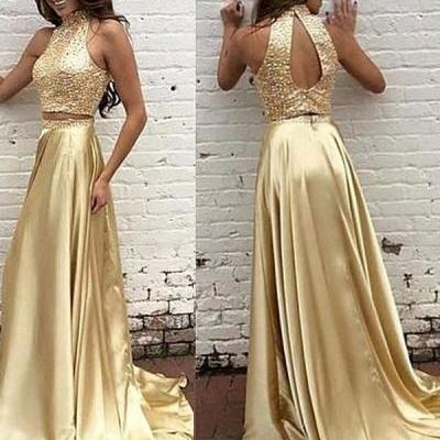 Two Piece High Neck Gold Prom Dress