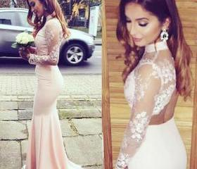 High Neck Pink Lace ..