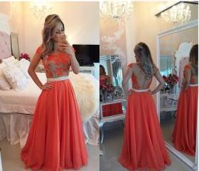 Red Lace Prom Dress,..