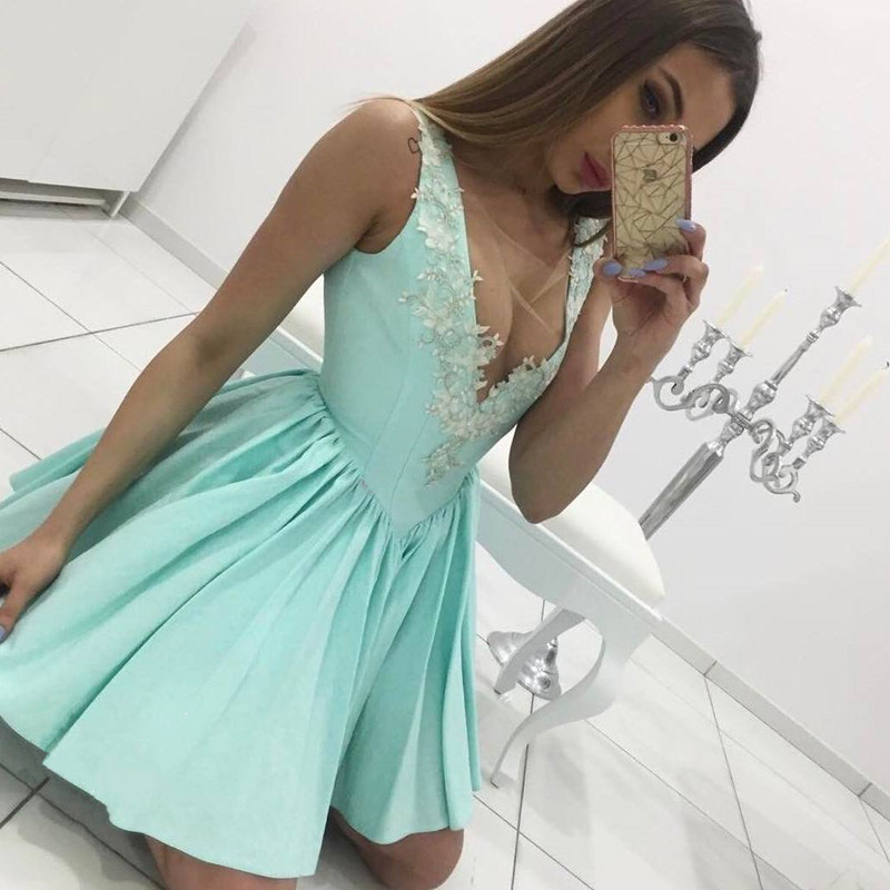 Mint V-neck Homecoming Dress, Lace Appliques Homecoming Dresses