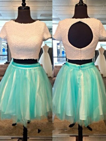 Mint tulle Two Piece Homecoming Dress With Beads