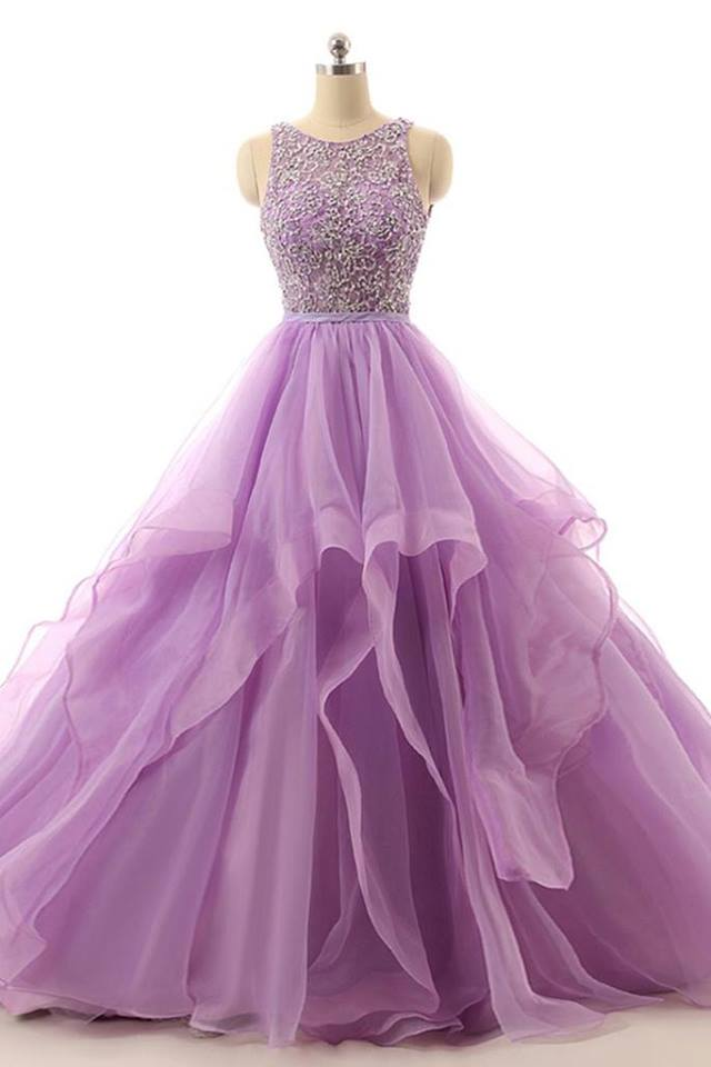 Elegant Purple Tulle Prom Dresses Beading Purple Evening Gown