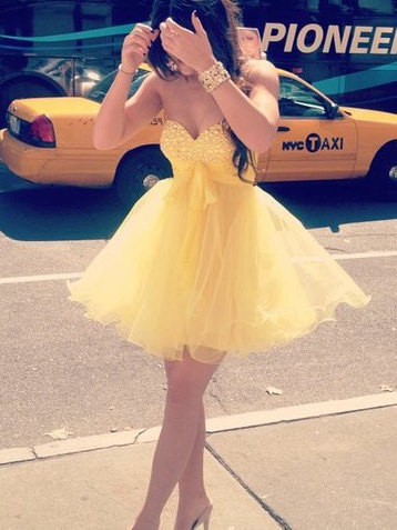 Custom Made Ball Gown Sweetheart Neckline Short Mini Prom Dress, Dresses for prom, Short Homecoming Dress, Yellow Homecoming Dress, short yellow prom dresses, formal dresses