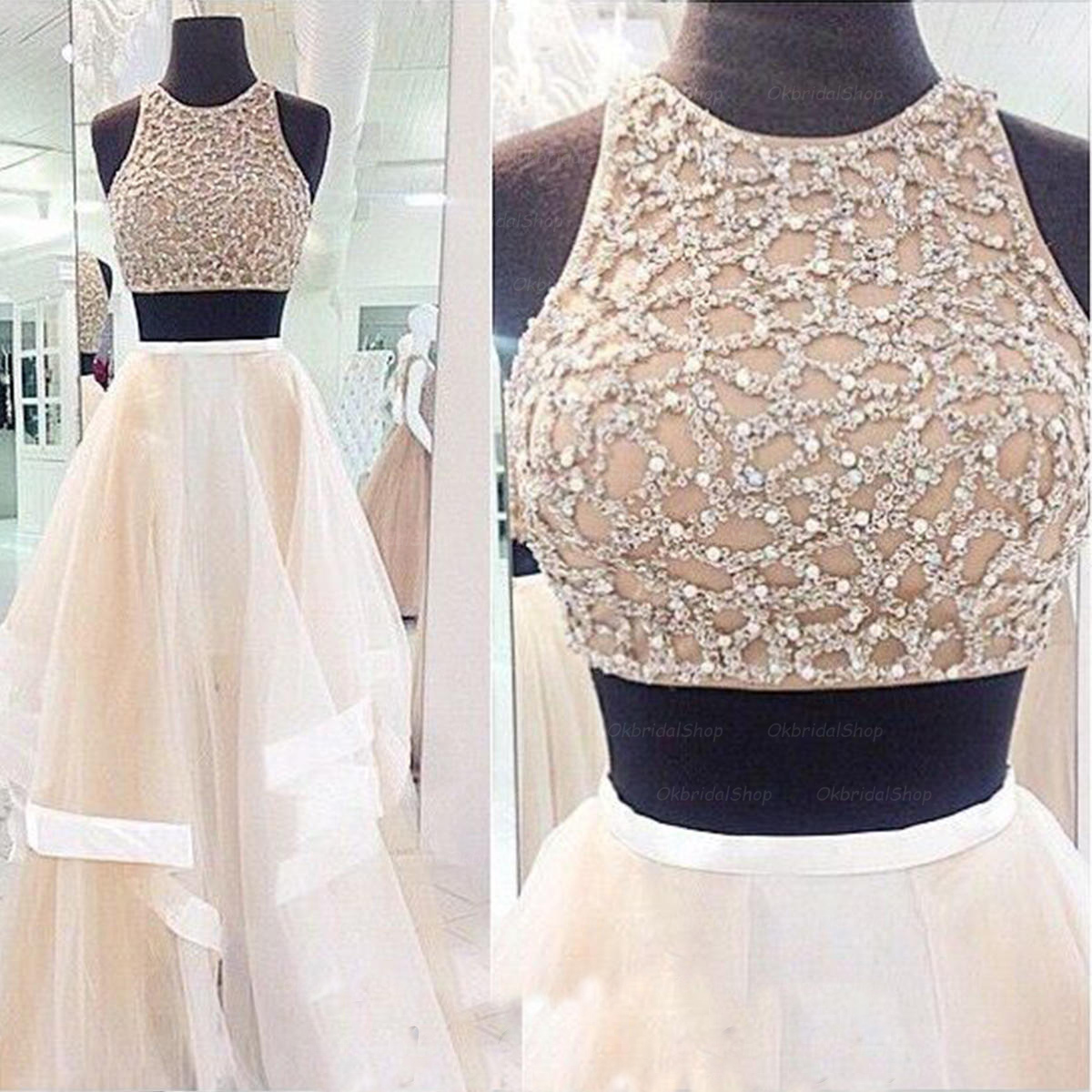 Two Pieces Prom Dresses 2015