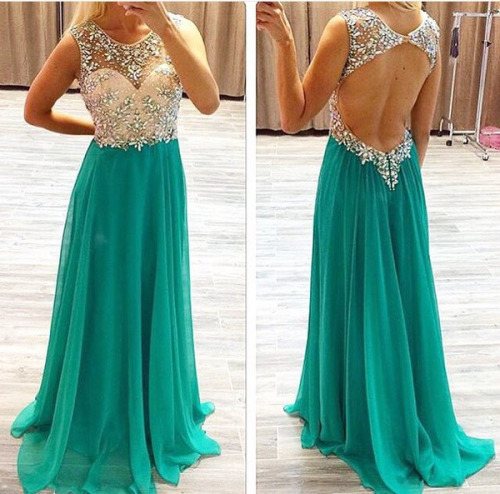 High Quality Prom Dress,A-Line Prom Dress,O-Neck Prom Dress,Chiffon Prom Dress, Beading Prom Dress