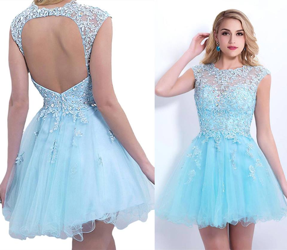 Applique Sky Blue Homecoming Dresses 5acb32477