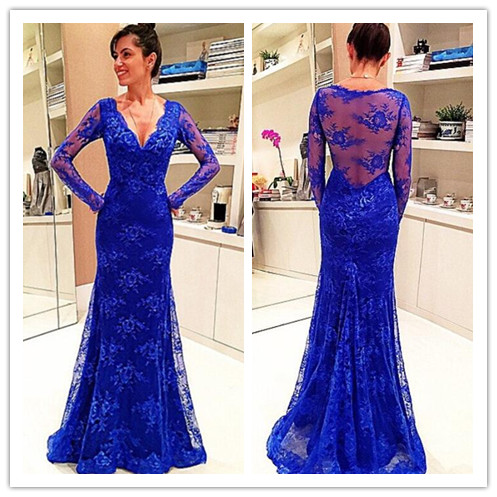 Royal blue lace prom dress
