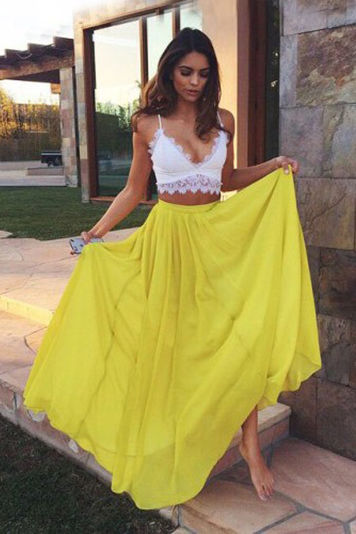 Two Piece Prom Dress,Yellow Prom Dresses,Long Evening Dress on Luulla