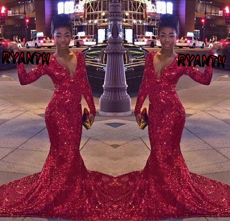Red Long Sleeve Sparkly Prom Dresses