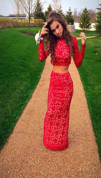 Red Lace Two Piece Mermaid Prom Dressesevening Dress On Luulla