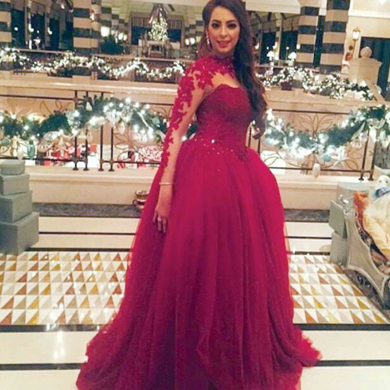 Prom Dresses Long Sleeve with Collar