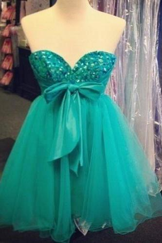 Mint Sweetheart Bowknot Chiffon Crystal Homecoming Dress