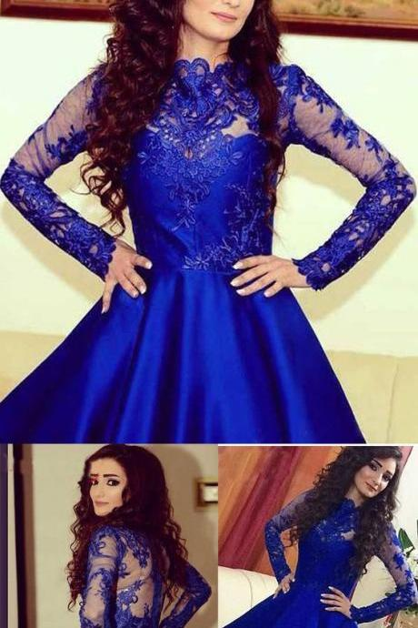 Long Sleeve Homecoming Dress, Lace Blue Homecoming Dress, Long Sleeve Cocktail Dress