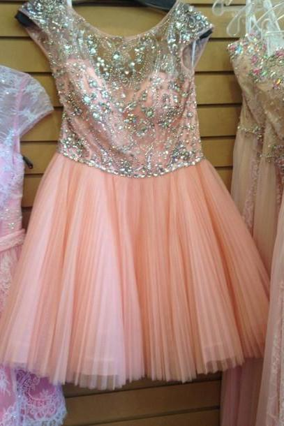 Baby Pink Crystal A Line Chiffon Short Cute Homecoming Dress