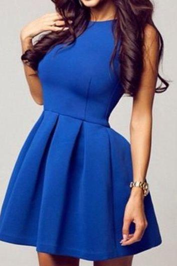 Royal Blue Simple Close-Fitting A Line Homecoming Dress