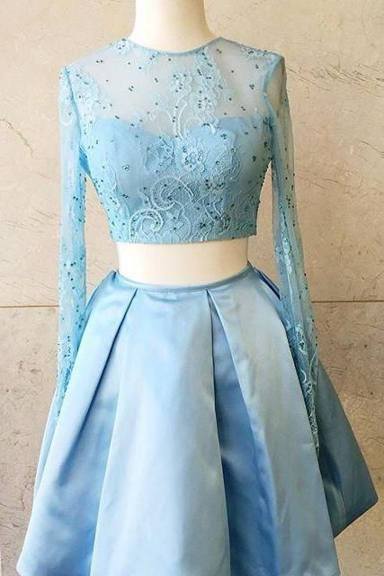 Baby Blue Two Pieces Long Sleeve Beads A Line Homecoming Dress
