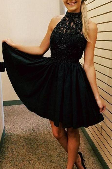 Black Halter Crystal Chiffon Sexy Strapless Homecoming Dress