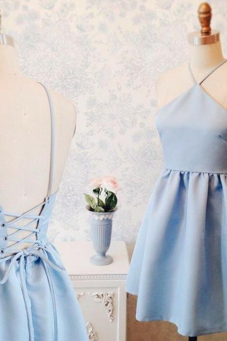 Baby Blue Halter Homecoming Dress, Sexy Strapless Homecoming Dress