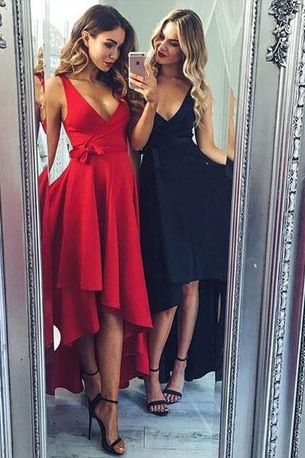 Black Deep V Neck Homecoming Dress, Long Sexy Homecoming Dress