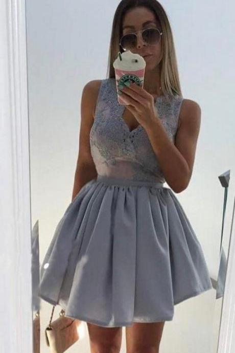 Gray Sequins Homecoming Dress, Deep V Neck Homecoming Dress