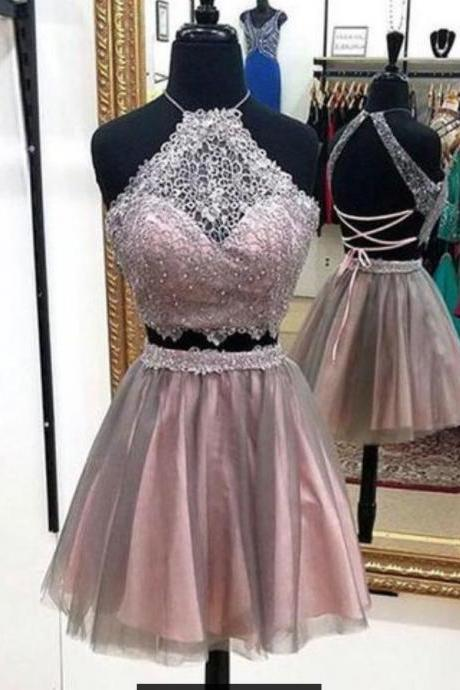 Lace Tulle Short Prom Dress, Cute Homecoming Dress