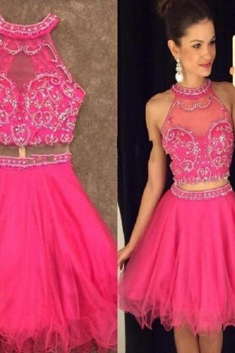 Pink Halter Homecoming Dress, Tulle Beadings Homecoming Dress