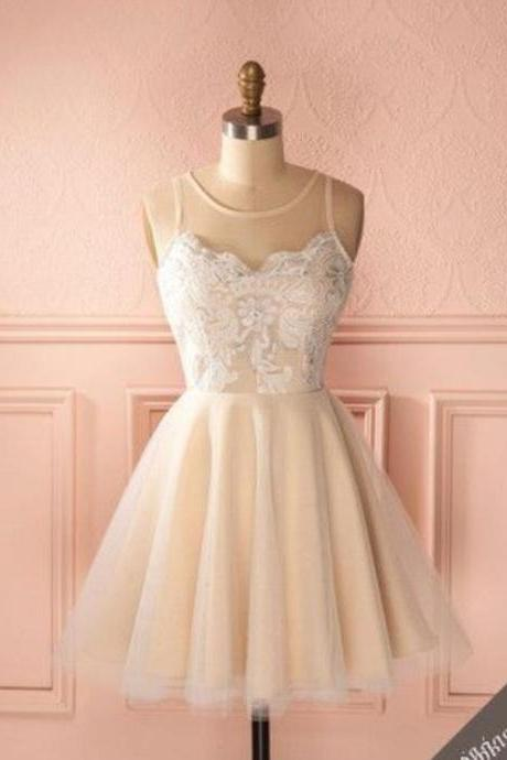 White Lace Tulle Homecoming Dress, Strapless Homecoming Dress