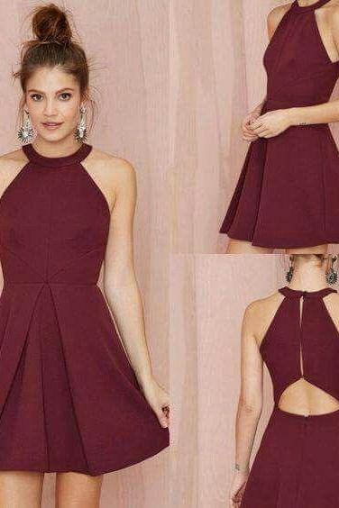 Burgundy Halter Homecoming Dress, Simple Sexy Homecoming Dress