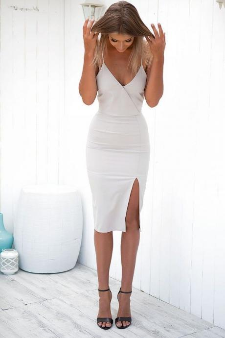 White V-Neck Homecoming Dresses, Simple Close-Fitting Homecoming Dress