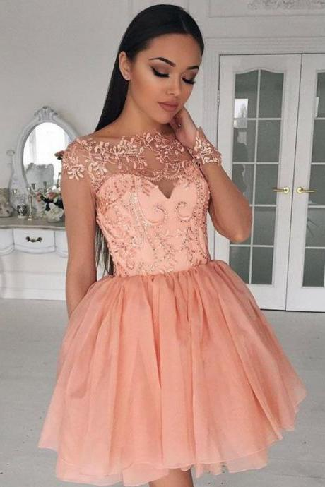 Pink Scoop Neck Homecoming Dresses, Applique Chiffon Homecoming Dress