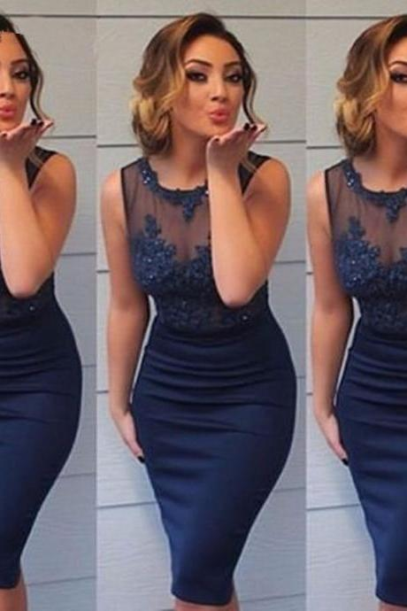 Navy Blue Straight Short Cocktail Dresses for Girls Sheer Tulle Appliques Beaded Tank Sexy Party Dresses
