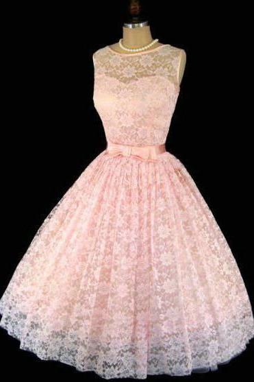 Blush Pink Homecoming Dress, Lace Short Prom Dresses