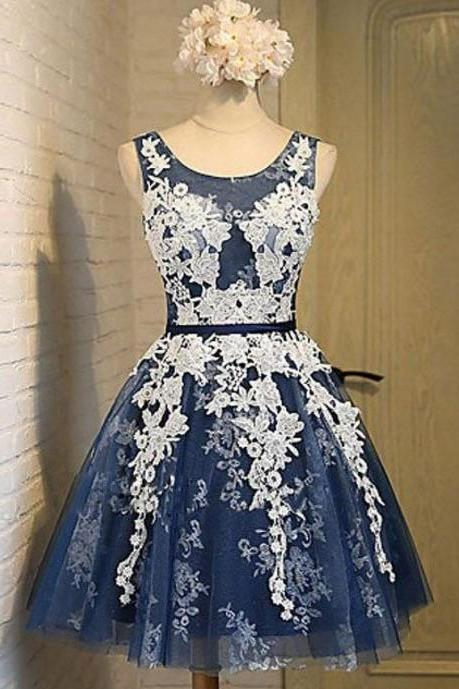 A-Line Round Neck Navy Blue Homecoming, Short Prom Dress with Appliques