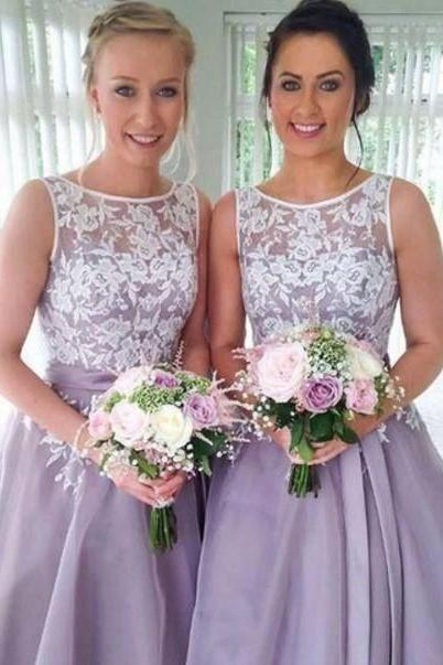 A-line Purple Lace Homecoming Dress, Short Bridesmaid Dresses