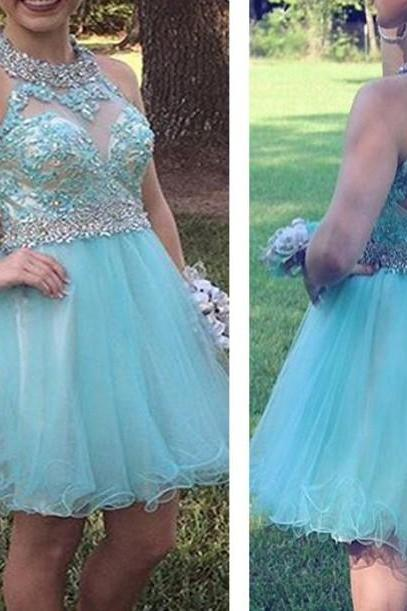 Cute Mint Open Back Homecoming Dresses with Beadings