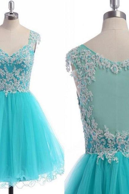 V-neck Mint Appliques Beaded Homecoming Dresses
